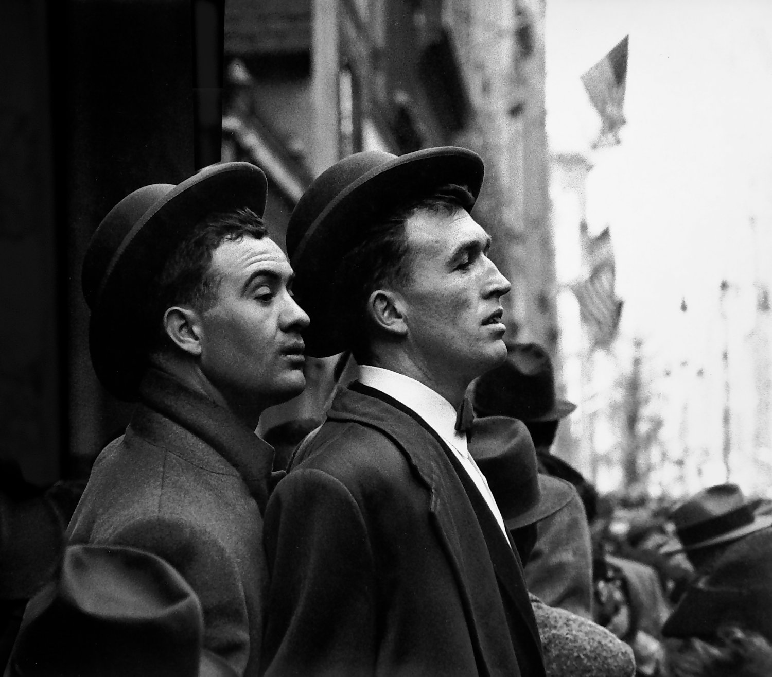 - Two young Irishmen watch the Saint Patrick's Day parade in New York City. - Photojournalism - Life Magazine - Black and white photography - Canon rangefinder and SLR cameras - Tony Karp, design, art, photography, techno-impressionist, techno-impressionism, aerial photography , drone , drones , dji , mavic pro , video , 3D printing - Books -