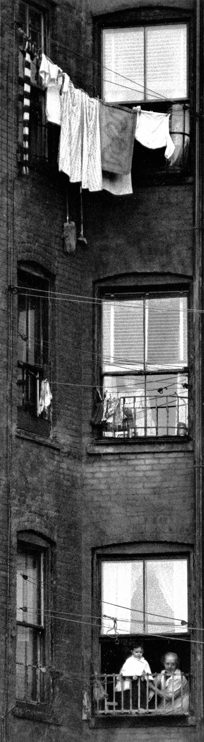 - Tenement windows, circa 1959. - Photojournalism - Life Magazine - Black and white photography - Canon rangefinder and SLR cameras - Tony Karp, design, art, photography, techno-impressionist, techno-impressionism, aerial photography , drone , drones , dji , mavic pro , video , 3D printing - Books -