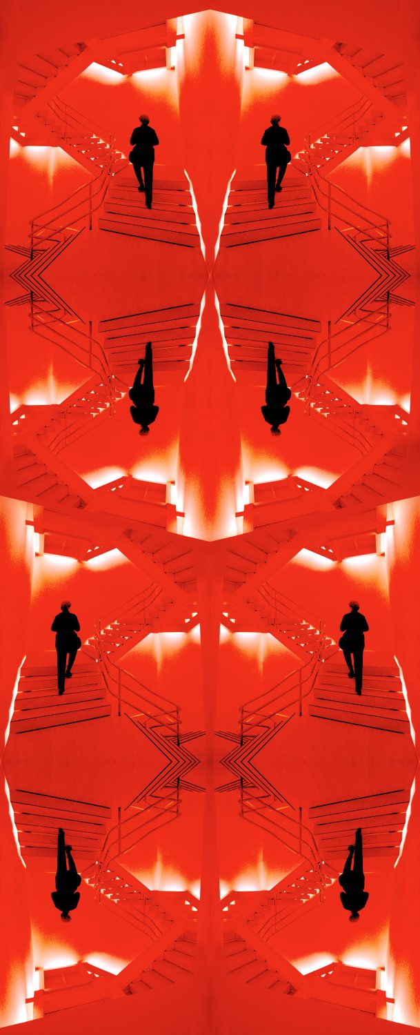 The Hobbitt on the stairs - The artist's muse meets Mr. Escher on the staircase at the Met - Metropolitan Museum of Art, New York City - Tony Karp, design, art, photography, techno-impressionist, techno-impressionism, aerial photography , drone , drones , dji , mavic pro , video , 3D printing - Books -