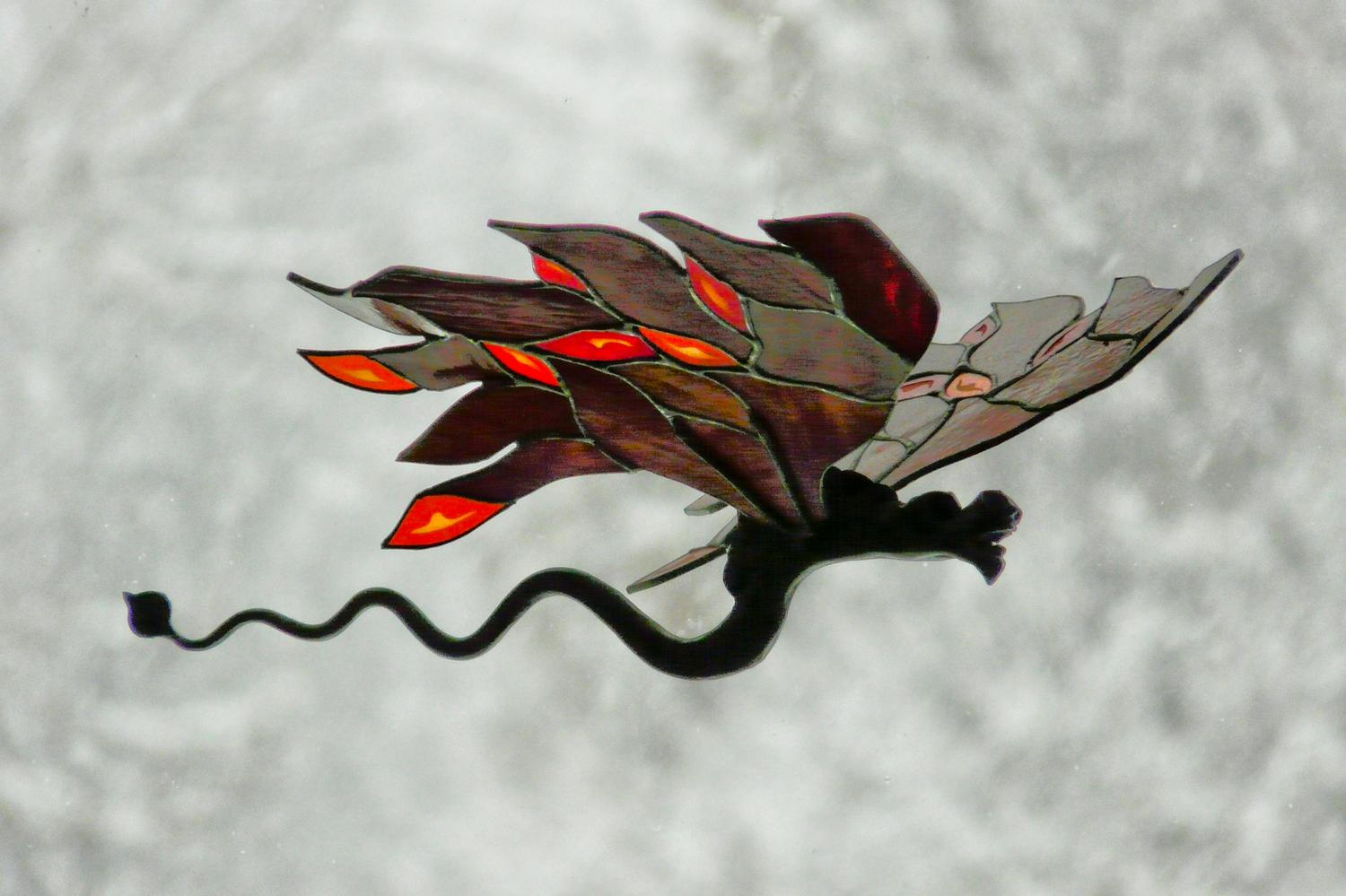 stained glass and wrought iron dragon in front of snow - Snads the dragon-  Panasonic DMC-FZ18 - SNADS the dragon flies before the storm. - Tony Karp, design, art, photography, techno-impressionist, techno-impressionism, aerial photography , drone , drones , dji , mavic pro , video , 3D printing - Books -