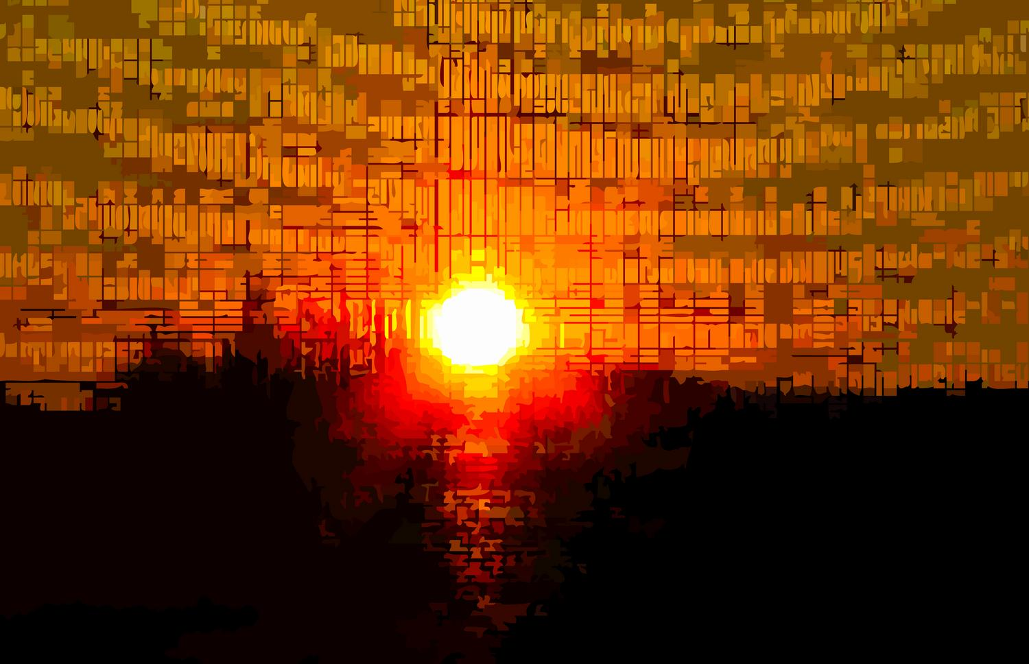 the sun coming through a screen - Sunset with rhythmic beats and waves - Panasonic DMC-FZ28 - Tony Karp, design, art, photography, techno-impressionist, techno-impressionism, aerial photography , drone , drones , dji , mavic pro , video , 3D printing - Books -
