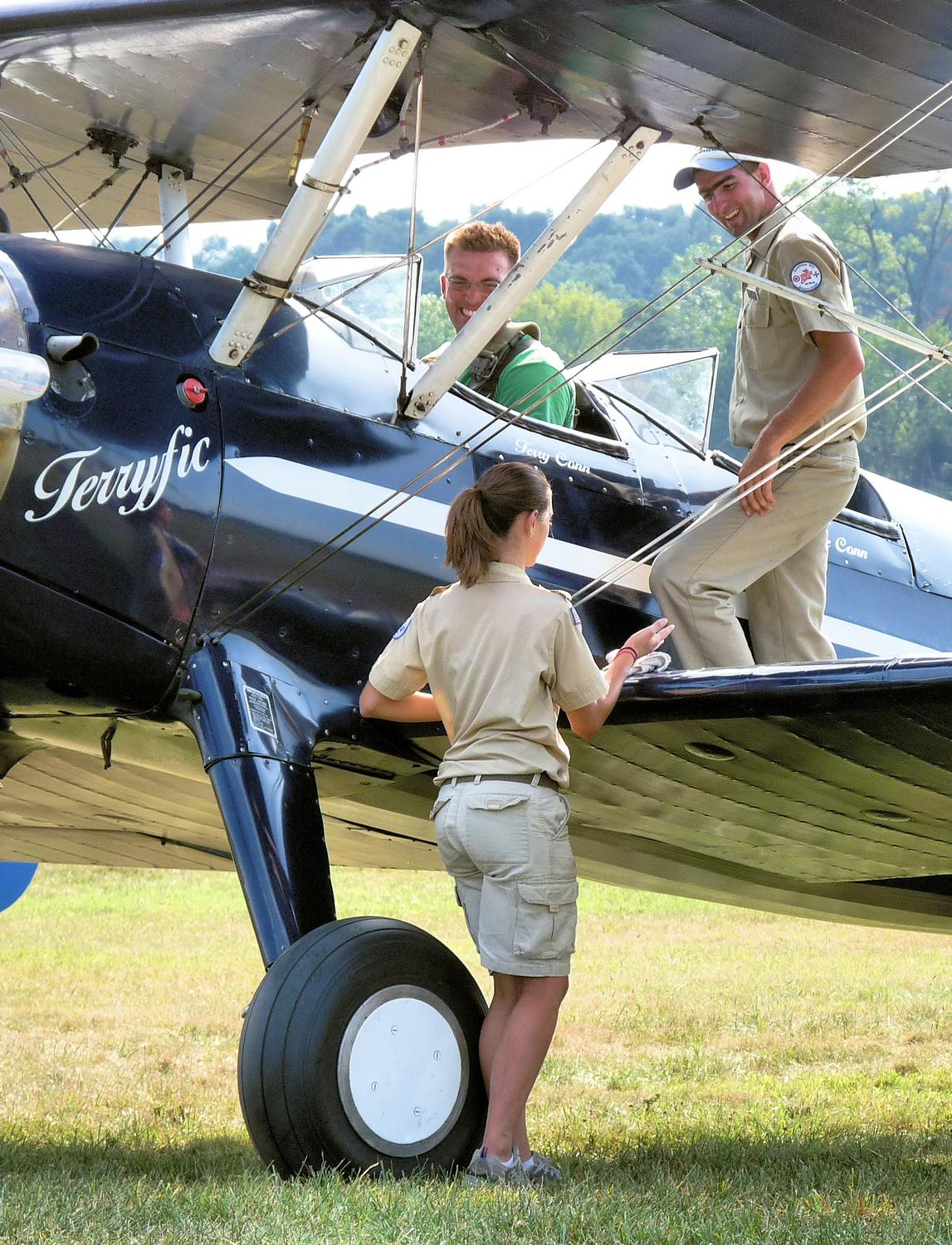 vintage biplane - The flight crew discusses things. - Panasonic DMC-FZ28 -- At the Flying Circus - Bealton Virginia - Tony Karp, design, art, photography, techno-impressionist, techno-impressionism, aerial photography , drone , drones , dji , mavic pro , video , 3D printing - Books -