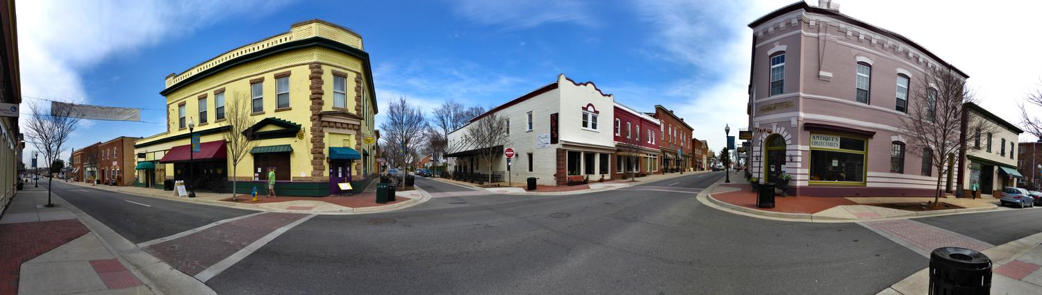 - A panorama of an intersection in Old Town Manassas - Manassas Virginia, Panasonic DMC-ZS40 - Tony Karp, design, art, photography, techno-impressionist, techno-impressionism, aerial photography , drone , drones , dji , mavic pro , video , 3D printing - Books -